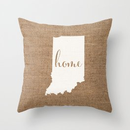 Indiana is Home - White on Burlap Throw Pillow