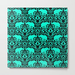 Elephant Damask Mint and Black Metal Print