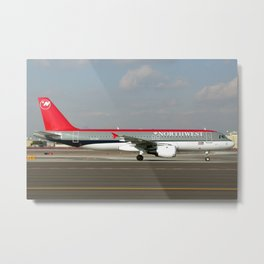 Northwest Airlines Airbus A320 Metal Print
