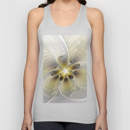 Gold And Silver, Abstract Flower Fractal Unisex Tank Top