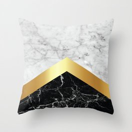 Arrows - White Marble, Gold & Black Granite #147 Throw Pillow