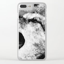 Watercolor Wolf Howl (Black and White) Clear iPhone Case
