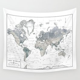 The World [Black and White Relief Map] Wall Tapestry