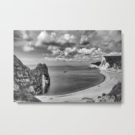 Durdle Door Black and White Metal Print
