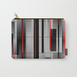 Off the Grid - Abstract - Gray, Black, Red Carry-All Pouch