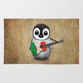 Baby Penguin Playing Italian Flag Guitar Rug