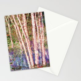 Pastel Birch Trees by a Forest Stream Stationery Cards