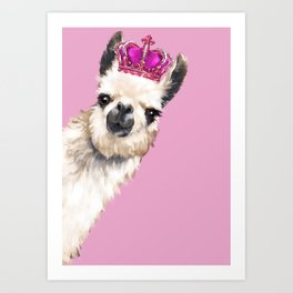 Llama Queen in Pink Art Print
