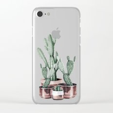 Potted Cacti Rose Gold Clear iPhone Case