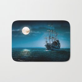 ship in the moonlight Bath Mat