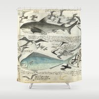 notebook Shower Curtains featuring Sealife Notebook by Common Design