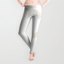 Simply Deconstructed Chevron White Gold Sands on White Leggings