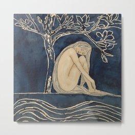 Girl sleeping under magnolia flowers Metal Print