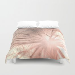 Pink Dandelion Macro Nature Photography Art and Apparel Duvet Cover