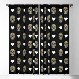 Say It with Skull and Hearts Blackout Curtain