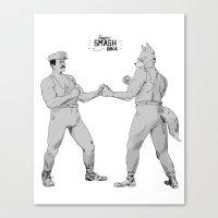 smash bros Canvas Prints featuring Old Timey Smash Bros by MikeOB