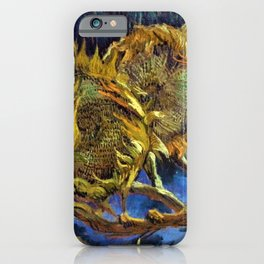 Four Cut Sunflowers - Auvers-sur-Oise Four sunflowers gone to seed by Vincent van Gogh iPhone Case