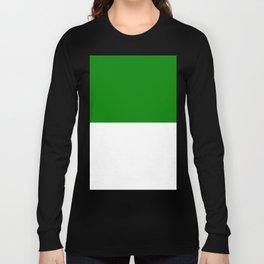White and Green Horizontal Halves Long Sleeve T-shirt