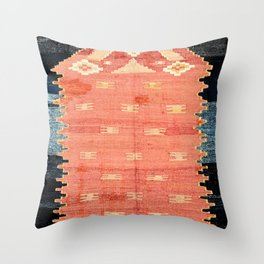 South West Anatolia  Antique Turkish Niche Kilim Print Throw Pillow