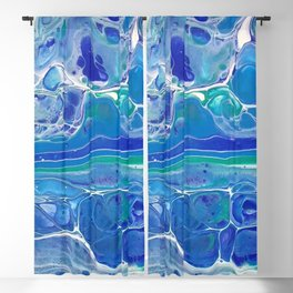 Swipe. A blue and White Abstract Blackout Curtain