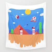 mario bros Wall Tapestries featuring Tiny Worlds - Super Mario Bros. 2: Toad by Paperbeatsscissors