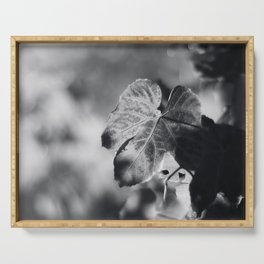 Autumn Grape Leaf in Black and White Serving Tray