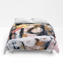 Lightning Soul: a vibrant colorful abstract acrylic, ink, and spray paint in gold, black, pink Comforters