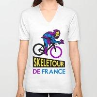 tour de france V-neck T-shirts featuring Skeletor Tour De France by Tabner's