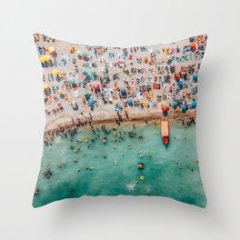 Hello Summer | Party People On Summer Ocean Beach | Aerial Beach Photography | Beach Wall Art Poster Throw Pillow