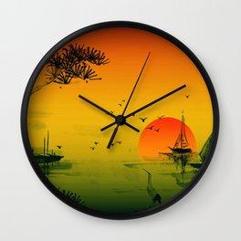 Japanese Sunset Wall Clock