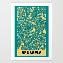 Brussels, Belgium, city map, Teal Art Print