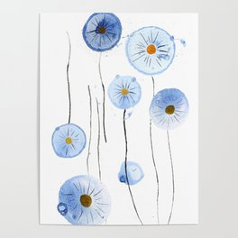 blue abstract dandelion 2 Poster