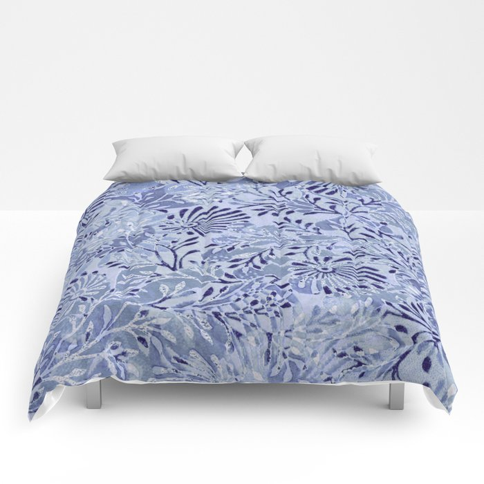 flowers and branches ,soft blue and silver accents Comforters