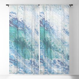 Tides  - Abstract fluid painting Sheer Curtain