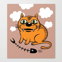my mad fat diary Canvas Prints featuring FAT CAT by Alberto Corradi