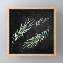 Eucalyptus leaves on chalkboard Framed Mini Art Print