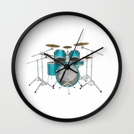 Green Drum Kit Wall Clock