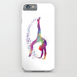 Gymnastics Tumbling Colorful Watercolor Artwork iPhone Case