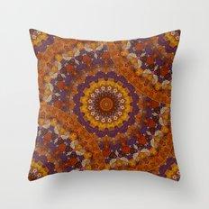 Color Me Autumn Kaleidoscope Mandala  Throw Pillow