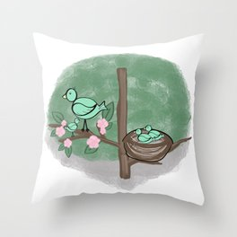 Baby Birds in a Tree Throw Pillow
