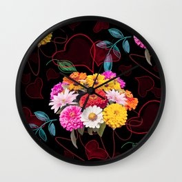 seamless floral pattern with hearts and leaves Wall Clock