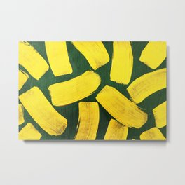 Abstract yellow brushes hand painted on green background Metal Print