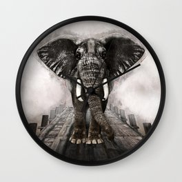 Elefant on walk Wall Clock