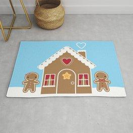 Kawaii Christmas Gingerbread House Rug