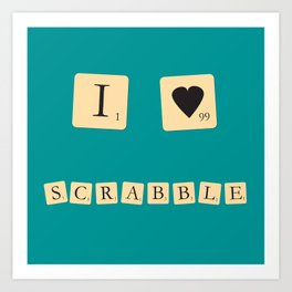 I heart Scrabble Art Print