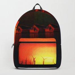Boats at Sunset (Digital Art) Backpack