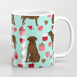 Chocolate Labrador Retriever valentines day cupcakes love hearts dog gifts labs Coffee Mug