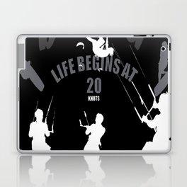 Life Begins At 20 Knots For Kitesurfers (White) Laptop & iPad Skin