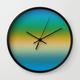 Peacock Colored Ombre Stripes Wall Clock
