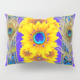 GREY-BLUE PEACOCK  SUNFLOWERS DECO JEWELED ABSTRACT  FLORAL Pillow Sham